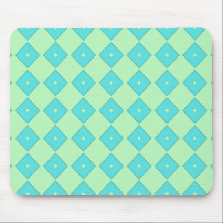 Green and Blue Diamond Print Mouse Pad