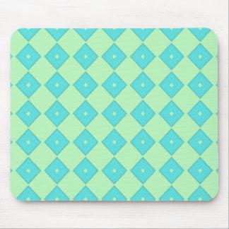 Green and Blue Diamond Print Mouse Pad