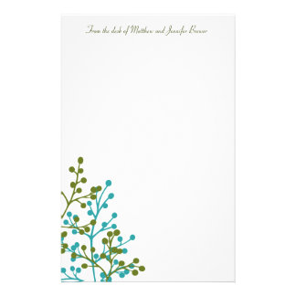 Green and Blue Floral Custom Stationary Stationery Paper