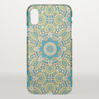 Green and Blue Floral Mandala iPhone X Case