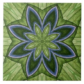 Green and Blue Flower Fractal Ceramic Tile