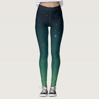 Green and Blue Galaxy Leggings