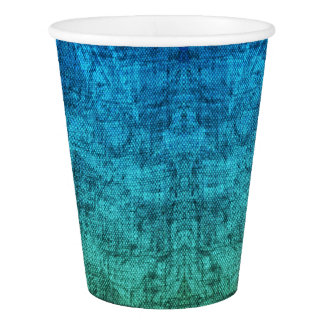 Green And Blue Gradient Texture Pattern Paper Cup