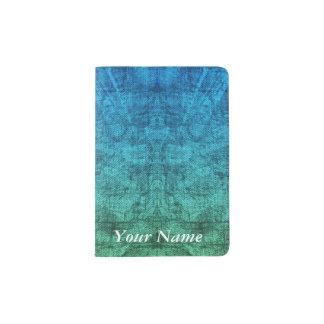Green And Blue Gradient Texture Pattern Passport Holder