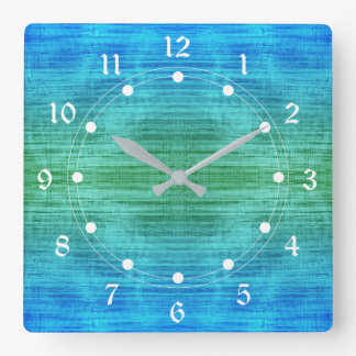 Green And Blue Gradient With White Square Wall Clock