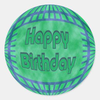green and blue Happy Birthday Round Sticker