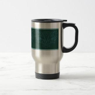 Green And Blue Heart Damask Mug