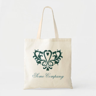 Green And Blue Heart Damask Budget Tote Bag