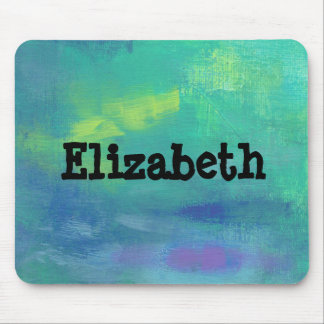 Green and Blue Impressionist Abstract Personalized Mouse Pad