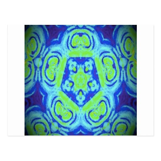 Green and Blue kaleidoscope Design Postcard