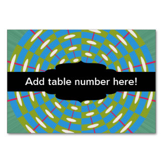 Green and blue kaleidoscope table cards