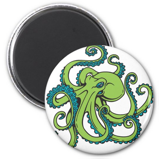Green and Blue Octopus 6 Cm Round Magnet