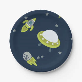 Green And Blue Outer Space Paper Plate