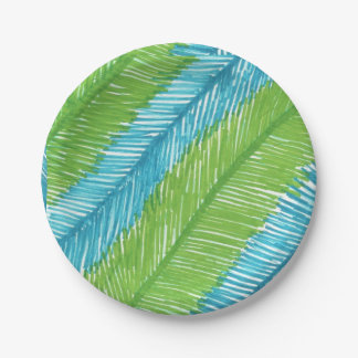 Green and Blue Palm Leaves Pattern Paper Plate