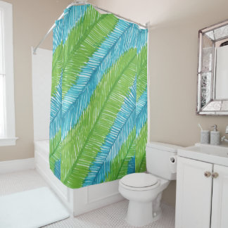 Green and Blue Palm Leaves Pattern Shower Curtain
