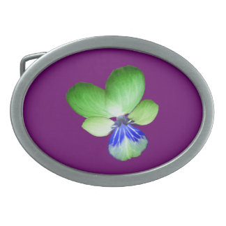 Green and Blue Pansy Belt Buckle