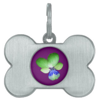 Green and Blue Pansy Pet Tag