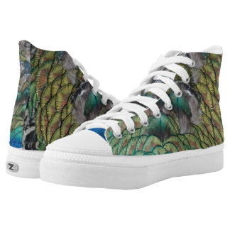 green and blue peacock tail feather high tops