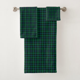 Green and Blue Plaid Scottish Clan MacKay Tartan Bath Towel Set
