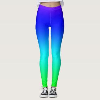 Green and Blue Rainbow Gradient Leggings