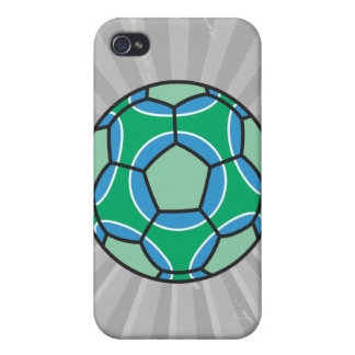 green and blue soccerball case for the iPhone 4
