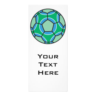 green and blue soccerball customized rack card