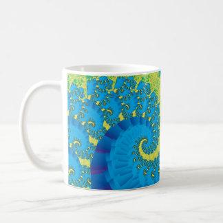 Green and Blue Spiral Fractal Basic White Mug