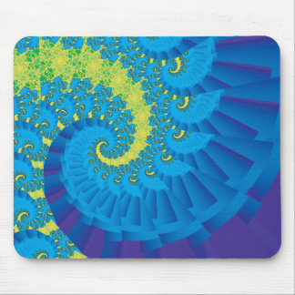 Green and Blue Spiral Fractal Mouse Pad