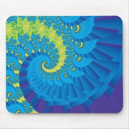 Green and Blue Spiral Fractal Mousepads