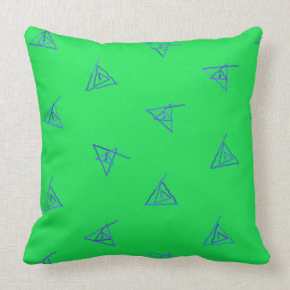 Green and Blue Spiral Triangles Pillow