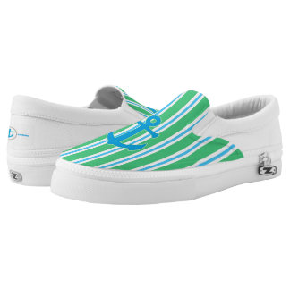 Green and Blue Striped Nautical Zipz Slip On Shoe Printed Shoes