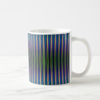 Green and blue striped pattern coffee mug