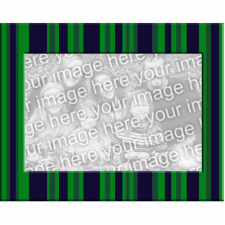 green and blue striped photo frame standing photo sculpture