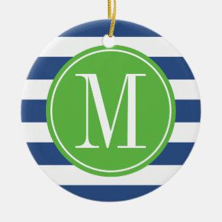 Green and Blue Stripes Custom Monogram Round Ceramic Decoration