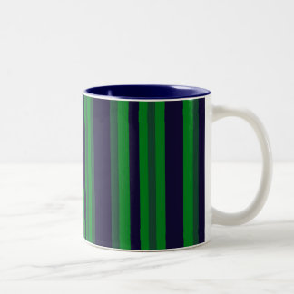 green and blue stripes Two-Tone mug