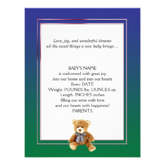 Green and Blue Teddy Bear Baby Announcement