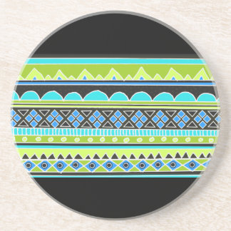 Green and blue tribal pattern coaster