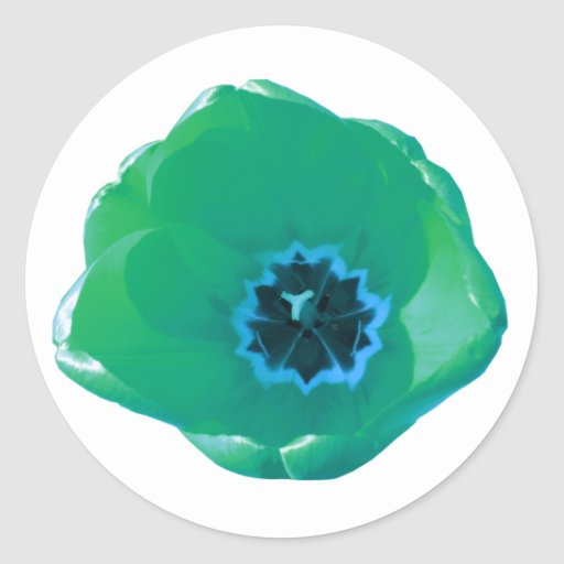 Green and Blue Tulip Round Stickers