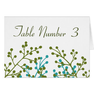 Green and Blue Wedding Reception Table Cards