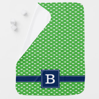 Green and Blue Whimsical Whales Pattern Monogram Baby Blanket