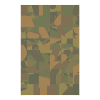 Green and Brown Camo, Abstract Pattern. Customized Stationery