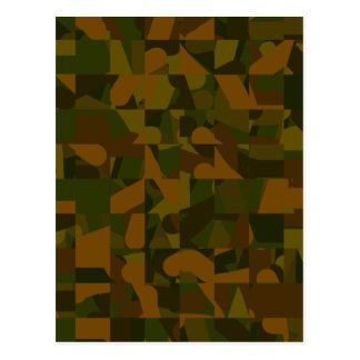 Green and Brown Camo, Abstract Pattern. Postcard