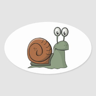 Green and Brown Cartoon Snail Stickers