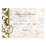Green and Brown Damask Place Card Menu Selection