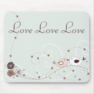 Green and Brown Flowers and Lovebirds Mousepad