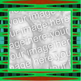 green and brown frame standing photo sculpture