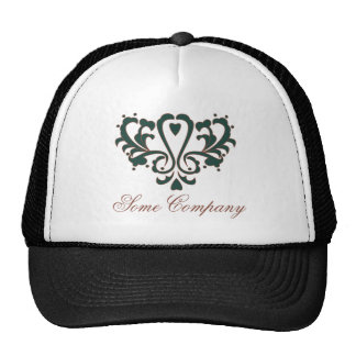 Green And Brown Heart Damask Hats