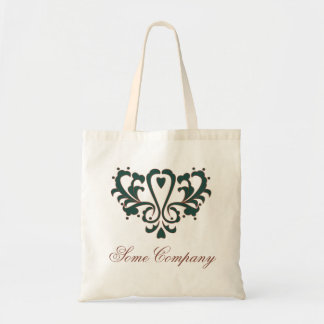 Green And Brown Heart Damask Budget Tote Bag