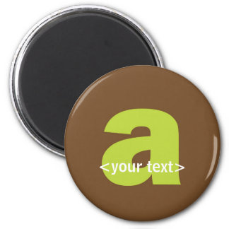 Green and Brown Monogram - Letter A 6 Cm Round Magnet
