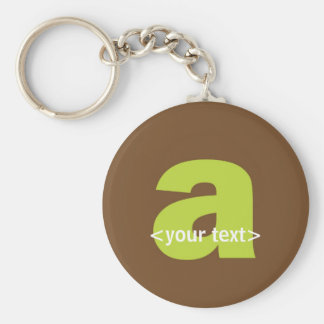 Green and Brown Monogram - Letter A Basic Round Button Key Ring